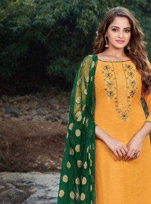 Salwar Kameez Embroidered Banarasi Silk in Yellow