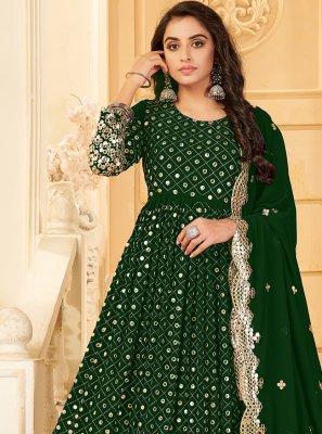 Salwar Kameez Embroidered Georgette in Green