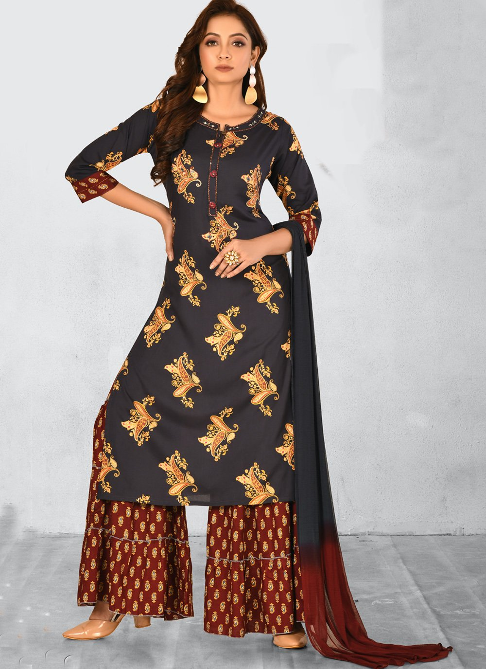 Salwar Kameez Embroidered Rayon in Black