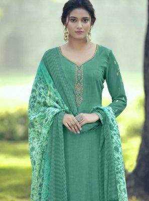 Salwar Kameez Resham Faux Crepe in Aqua Blue