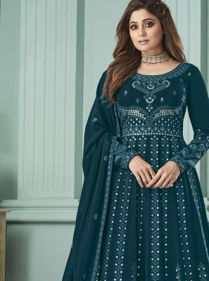 Salwar Kameez Zari Georgette in Blue