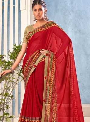 Saree Abstract Print Faux Georgette in Maroon