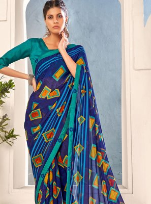 Saree Abstract Print Faux Georgette in Multi Colour