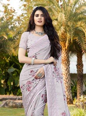 Saree Digital Print Satin in Lavender