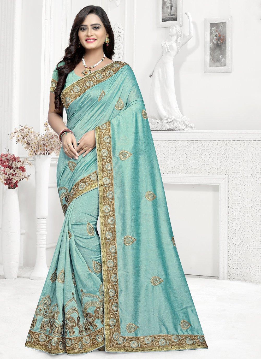 Saree Embroidered Silk in Aqua Blue