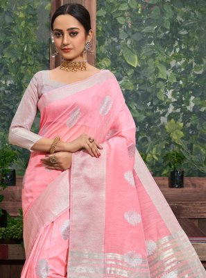 Saree Fancy Linen in Pink