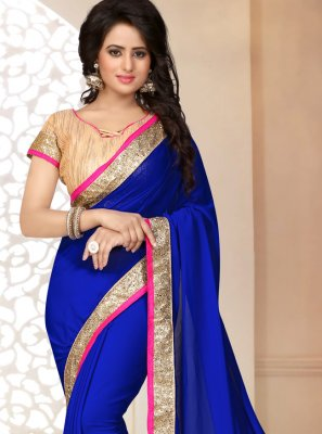 Saree Patch Border Faux Georgette in Blue
