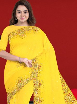Saree Patch Border Faux Georgette in Yellow