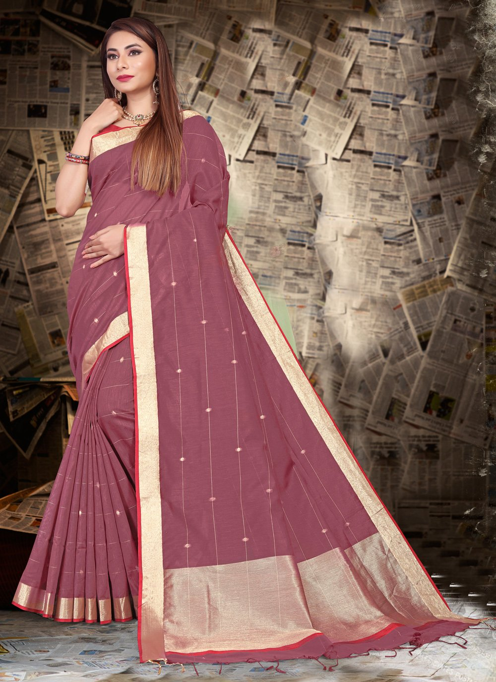 Saree Patch Border Linen in Magenta