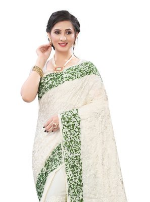 Saree Patch Border Satin in Off White