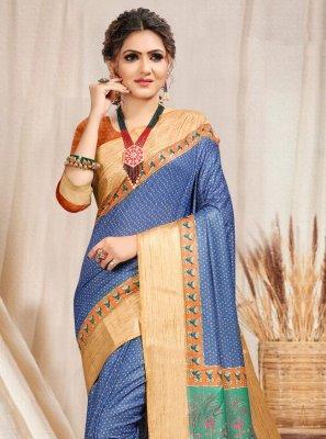 Saree Printed Cotton in Blue