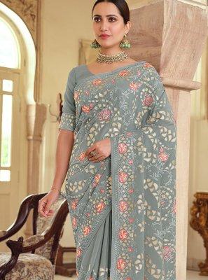 Saree Resham Georgette Satin in Grey