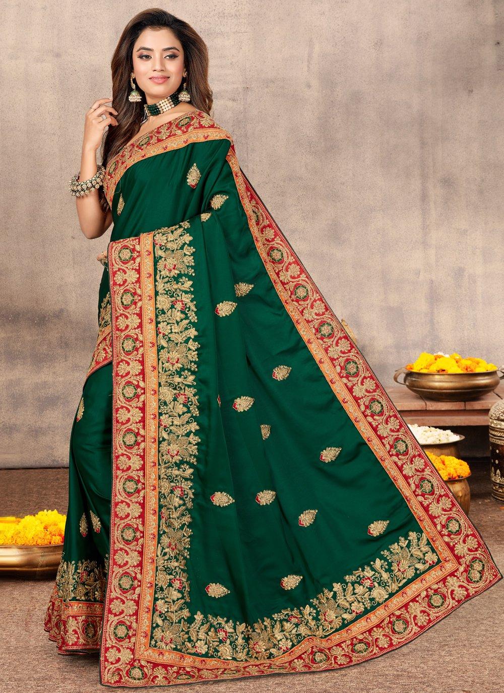 Saree Resham Satin in Green