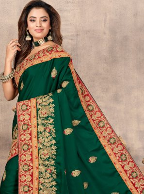 Saree Resham Satin in Green