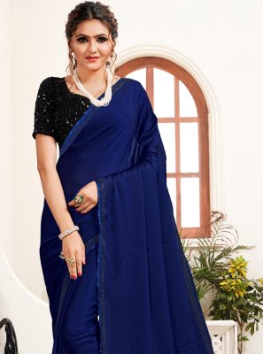 Saree Stone Work Satin in Navy Blue