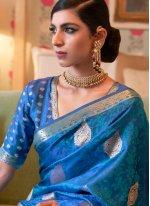 Saree Weaving Satin in Blue