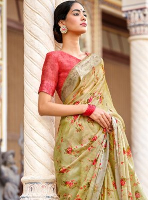 Satin Abstract Print Traditional Saree in Multi Colour