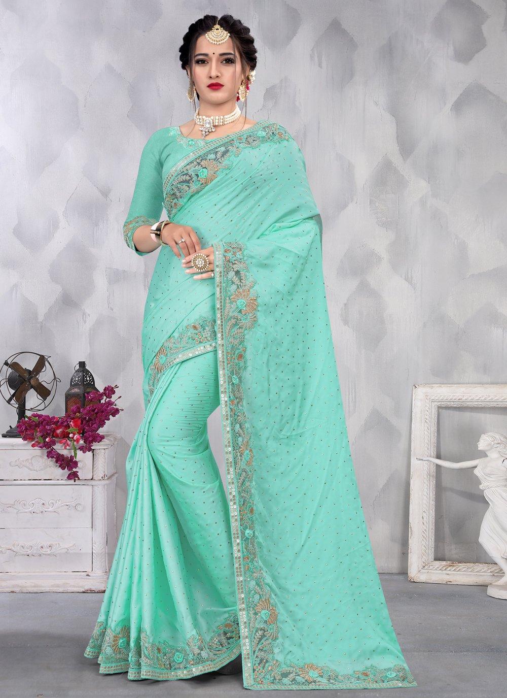 Satin Aqua Blue Sequins Designer Saree