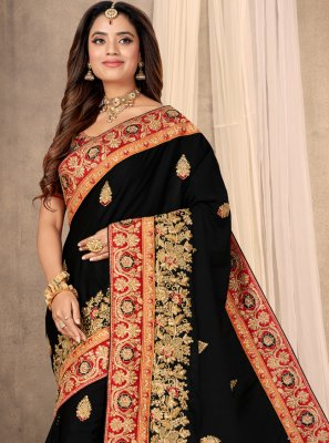 Satin Black Designer Saree