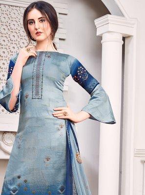 Satin Blue Designer Salwar Kameez
