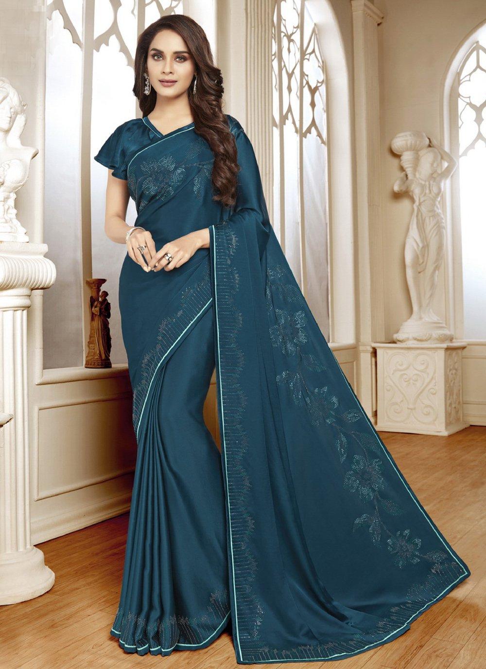 Satin Classic Designer Saree in Teal