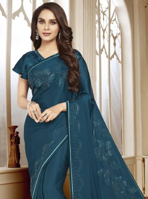 Satin Classic Designer Saree in Teal