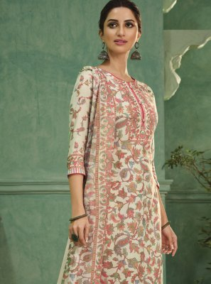 Satin Cream Designer Salwar Kameez