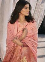 Satin Designer Pakistani Suit in Peach