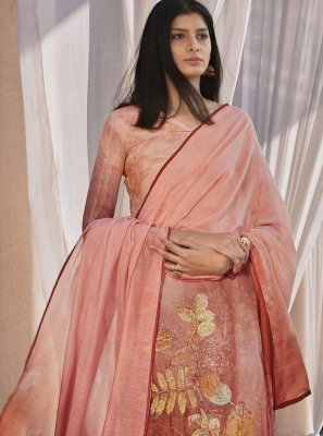 Satin Designer Pakistani Suit in Peach