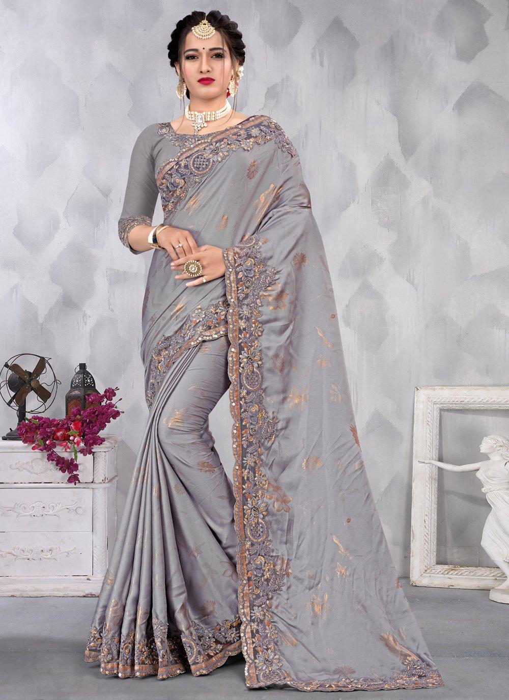 Satin Designer Saree in Grey