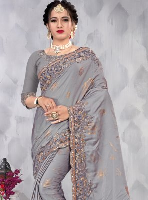 Satin Designer Saree in Grey