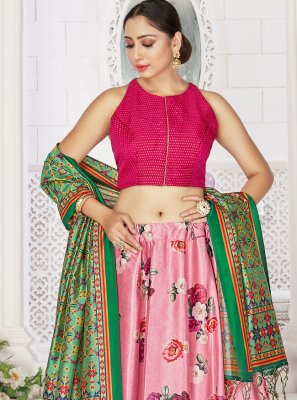 Satin Digital Print Readymade Lehenga Choli