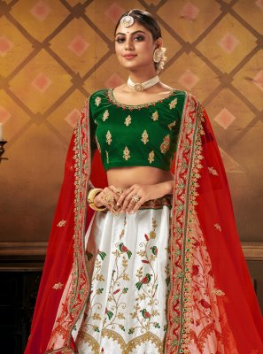 Satin Embroidered A Line Lehenga Choli in White
