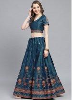 Satin Embroidered Bollywood Lehenga Choli in Blue