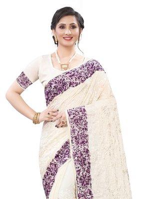 Satin Embroidered Classic Designer Saree