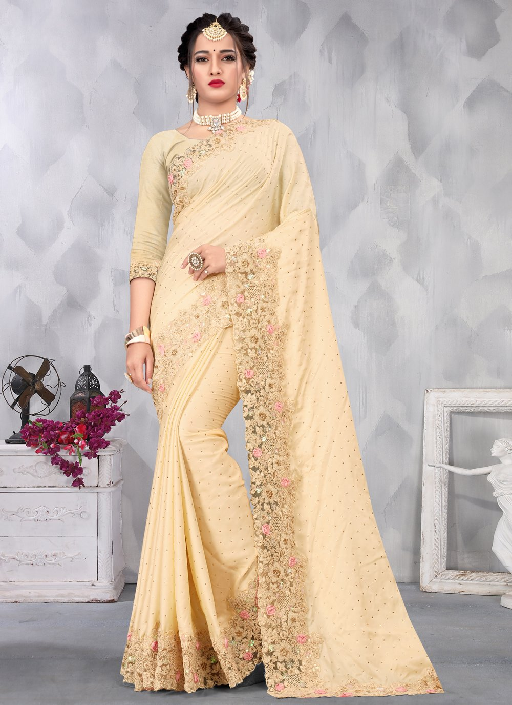 Satin Embroidered Cream Designer Saree