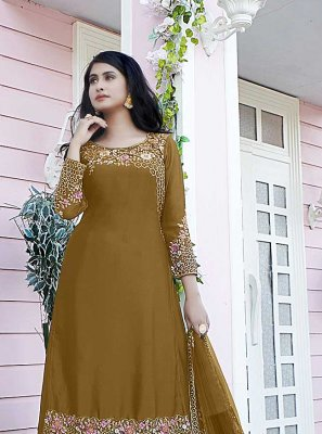 Satin Embroidered Designer Pakistani Suit in Brown