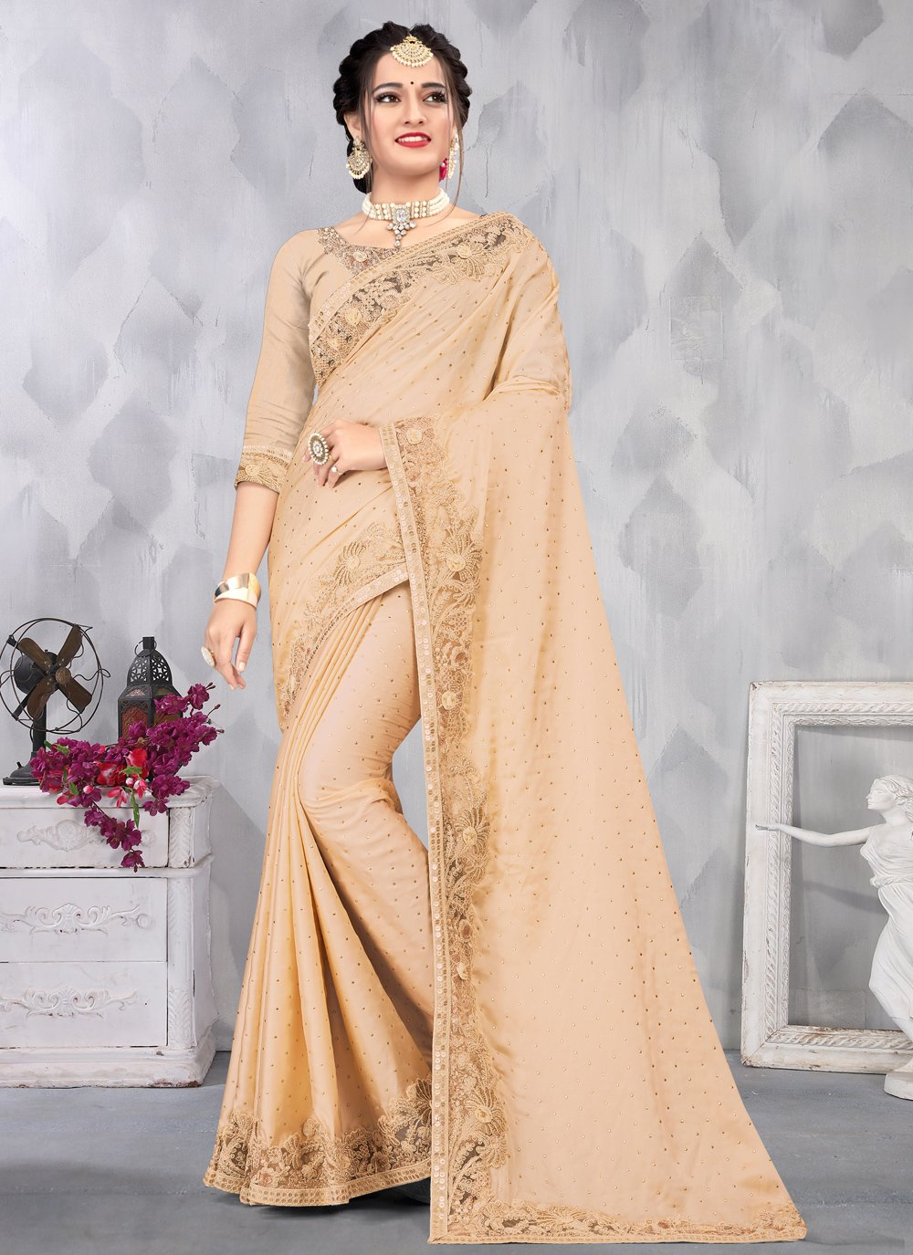 Satin Embroidered Designer Saree in Beige