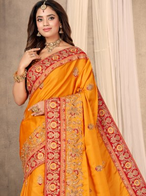 Satin Embroidered Designer Traditional Saree in Mustard