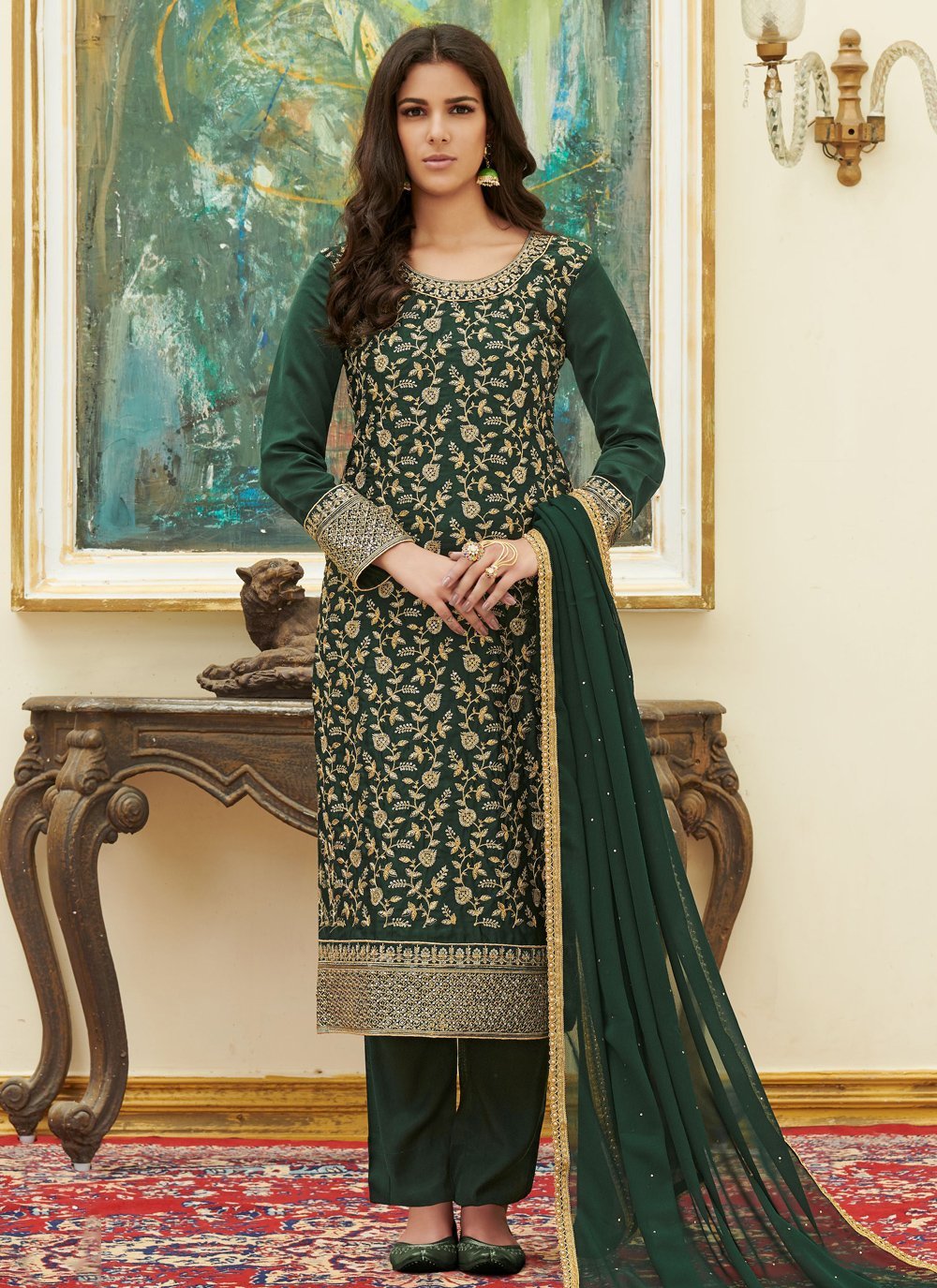 Satin Embroidered Green Pant Style Suit