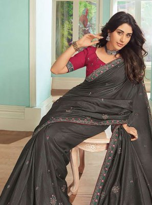 Satin Embroidered Grey Trendy Saree