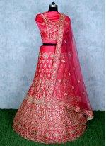 Satin Embroidered Hot Pink Lehenga Choli