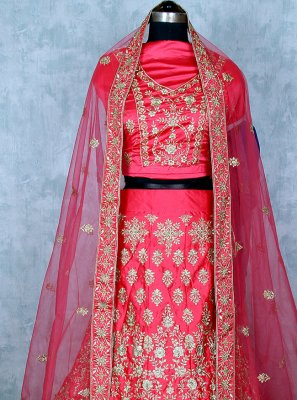 Satin Embroidered Hot Pink Lehenga Choli