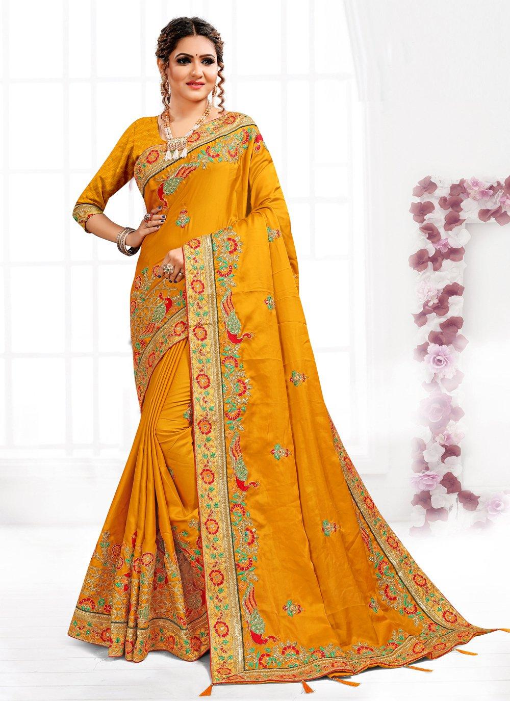 Satin Embroidered Mustard Designer Traditional Saree