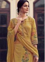 Satin Embroidered Yellow Designer Palazzo Salwar Kameez