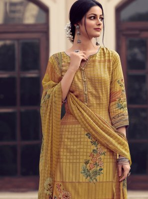 Satin Embroidered Yellow Designer Palazzo Salwar Kameez