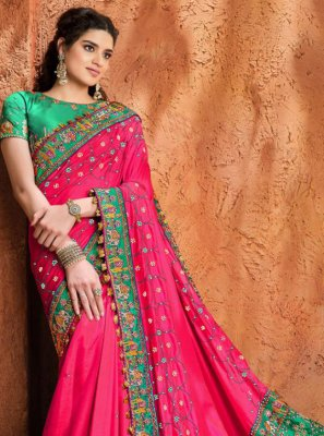 Satin Engagement Designer Traditional Saree