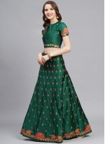 Satin Green Bollywood Lehenga Choli
