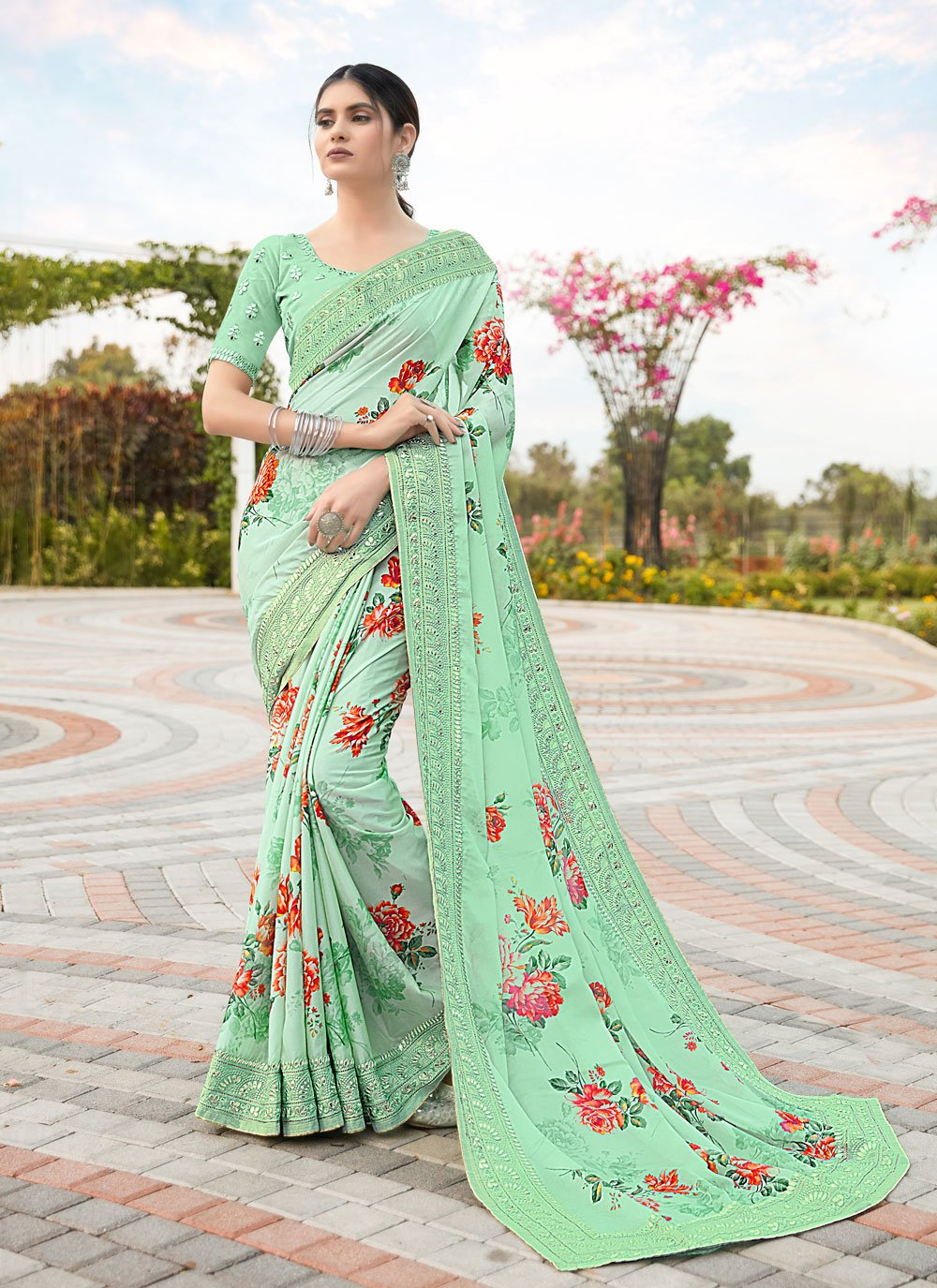 Satin Green Classic Designer Saree