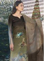 Satin Green Designer Pakistani Suit